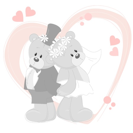 Wedding invitation with cute Teddy Bears Vector