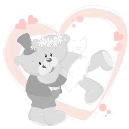 vintage teddy bears:  Wedding invitation with dancing cute Teddy Bears
