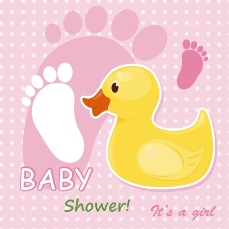 rubber duck: Baby girl arrival card Illustration