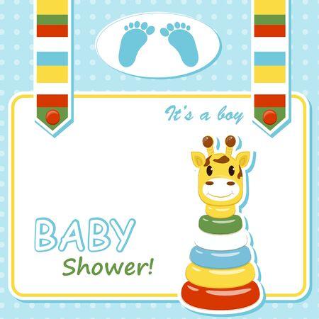 Baby boy arrival card  Vector illustration
