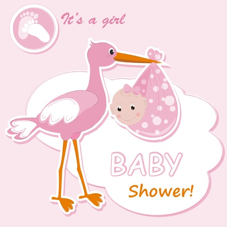 little girl feet: Baby girl arrival announcement card Illustration