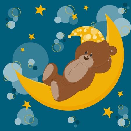 Card with sleeping teddy bear on moon Stock Vector - 13340985