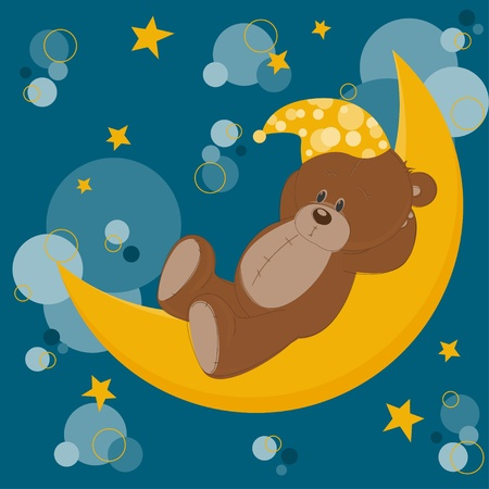 cute bear: Card with sleeping teddy bear on moon