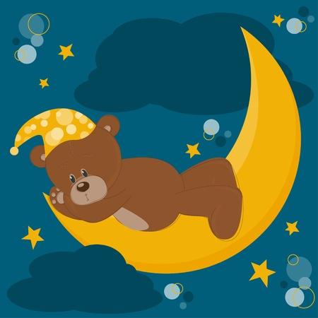 Card with sleeping teddy bear on moon Stock Vector - 13340984