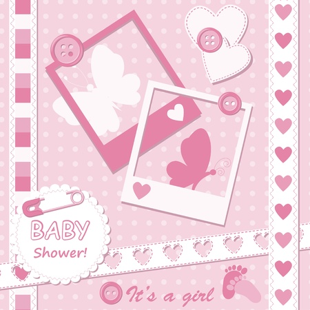 girl: Baby girl greeting card with photo frame