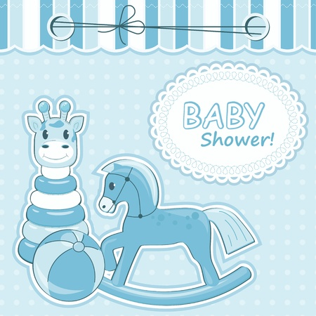 Baby boy arrival card. Vector