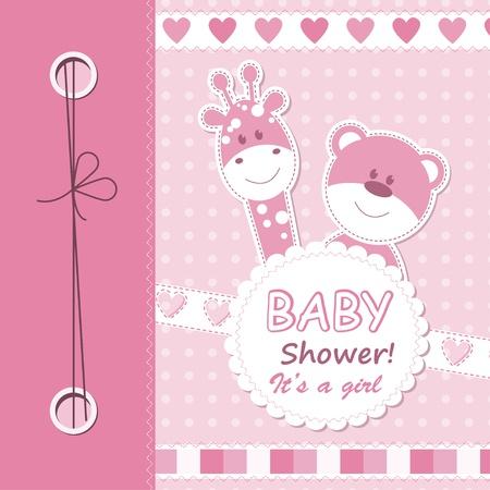 Vector baby girl scrapbook card