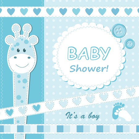 Baby boy announcement card. Vector illustration Ilustração