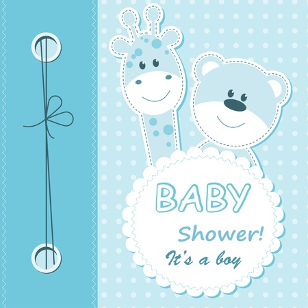 drawing boy: Baby boy arrival card.
