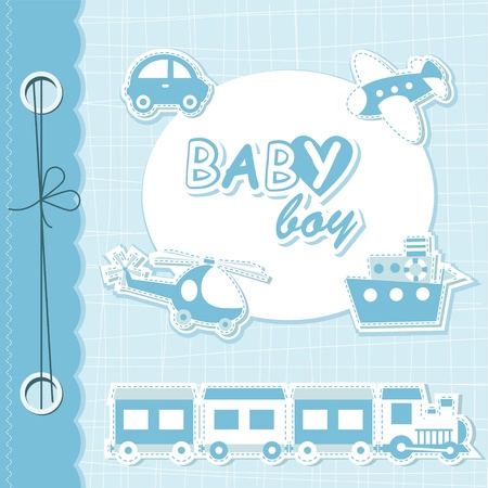 Vector baby boy scrapbook Vector