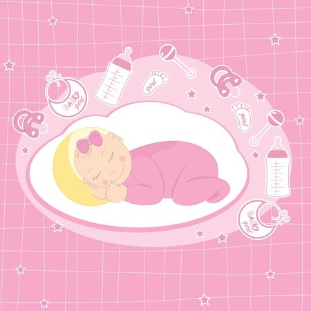 Baby girl announcement card with sleeping girl Vector