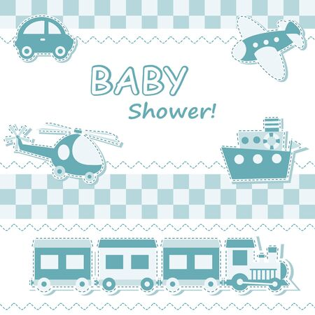 baby announcement card: Baby boy announcement card with toys Illustration