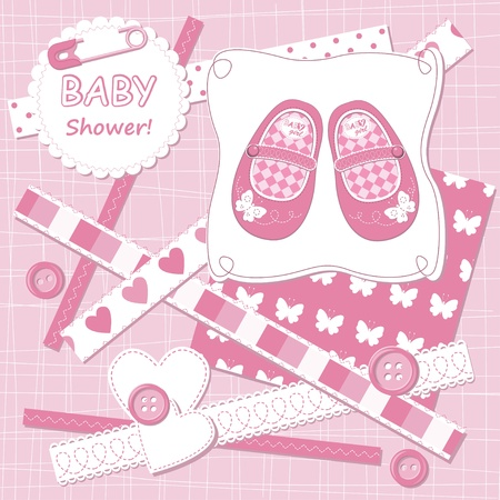 Vector baby girl scrapbook card Vector