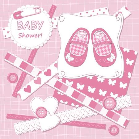 Vector baby girl scrapbook card Stock Vector - 13528645