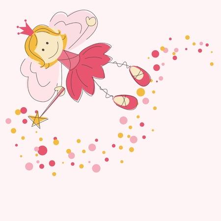 fairy story: Illustrazione vettoriale di una fata con la bacchetta magica