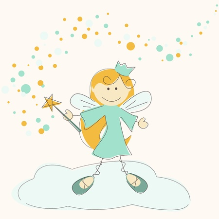 pixie: illustration of a fairy with magic stick Illustration