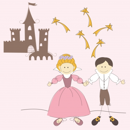 a charming: Invitation card with princess castle , princess and prince