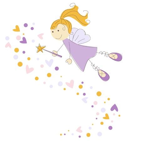 fairy story: illustrazione di una fata con la bacchetta magica Vettoriali