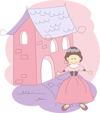 illustration with cute princess  Vector