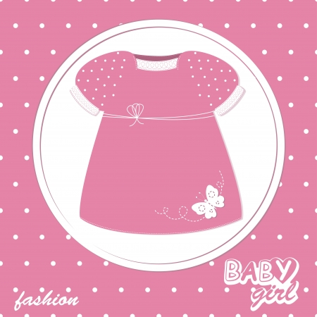 Vector baby girl scrapbook arrival card with stylish dress Stock Vector - 13638192