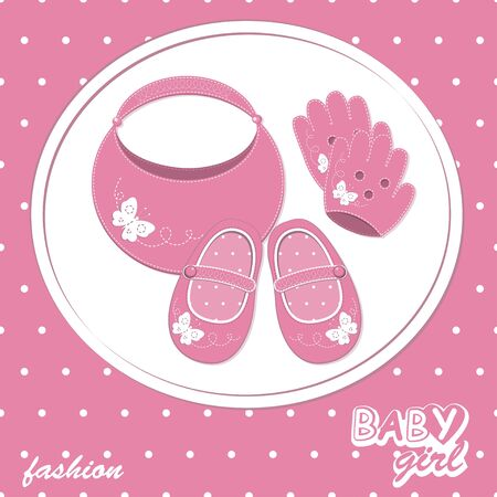 baby girl scrapbook arrival card with shoes, gloves and handbag Vector