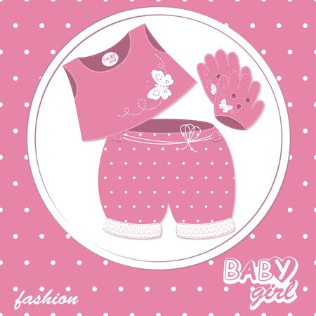 baby girl scrapbook arrival card Stock Vector - 13638207