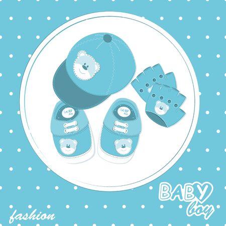 Baby-Ankunfts-Sammelalbum-Karte mit stilvollen Kappe, Handschuhe und Schuhe