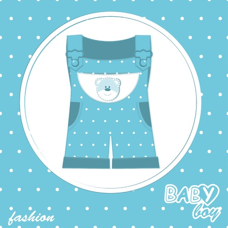 baby boy arrival scrapbook card with stylish overall Vector
