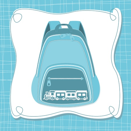 baby boy arrival scrapbook card with stylish backpack Vector