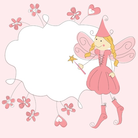 Invitation card with princess fairy and magic wand Vector