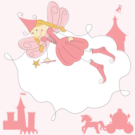 glow stick: Invitation card with princess fairy and magic wand