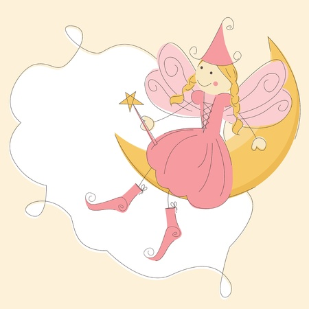 angel cartoon: Invitation card with princess fairy and magic wand on a moon Illustration