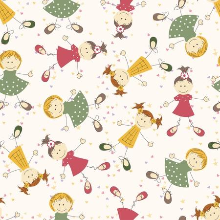 Seamless pattern with funny girls Ilustração