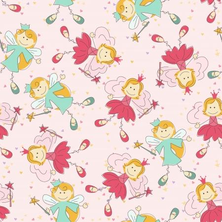 fee zauberstab: Nahtlose Muster mit Prinzessin und Fee