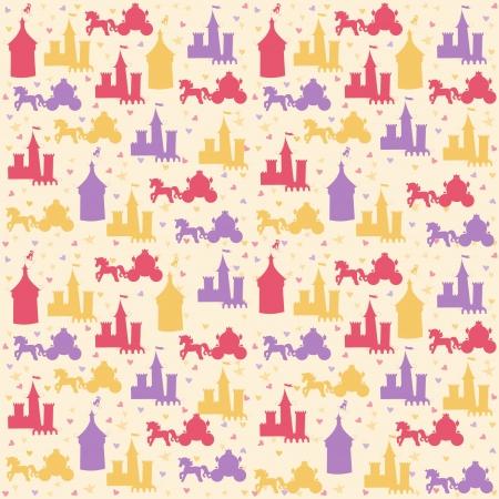 Seamless pattern with princess accessories Ilustração