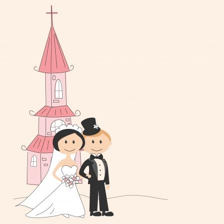 familia en la iglesia: Invitaci�n de boda con la novia y el novio bailando divertida Vectores
