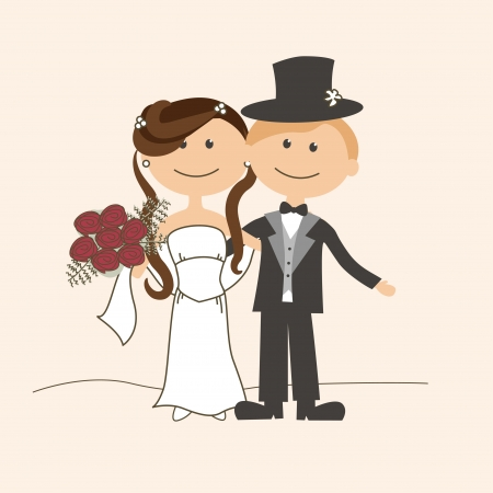 married: Wedding invitation with funny bride and groom Illustration