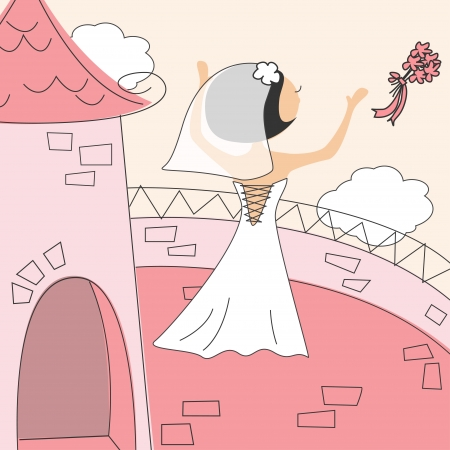 Wedding invitation with funny bride on the balcony of the castle Stock Vector - 13752792