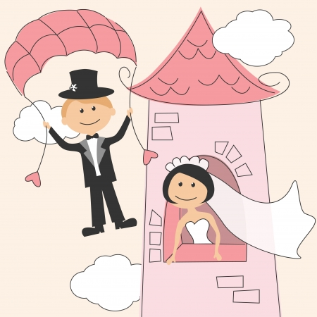 parachute: Wedding invitation with funny bride in the tower and groom