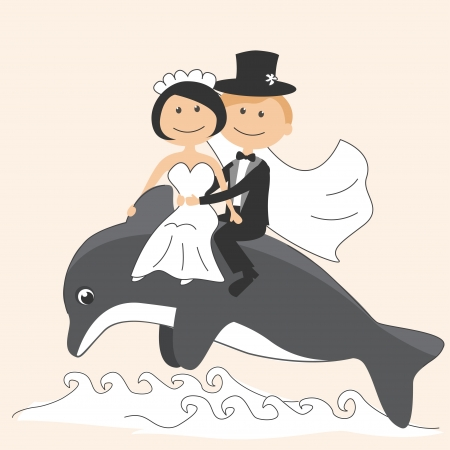 Wedding invitation with funny bride and groom on a dolphin Vector