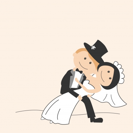 wedding dress: Wedding invitation with dancing funny bride and groom