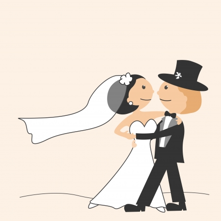 Wedding invitation with dancing funny bride and groom Vector