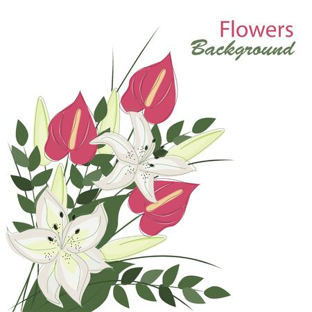 Hand-drawing floral background with flowers bouquet Vector