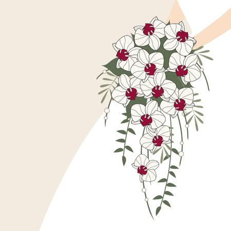 Vintage huwelijksuitnodiging, achtergrond met kleding en cascade boeket van orchideeën Vector Illustratie