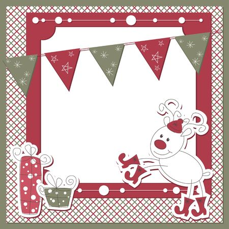 Christmas and New Year scrapbook card with cartoon deer and garland Vector