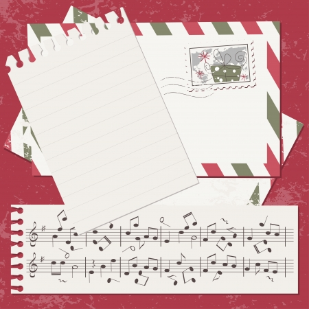 retro music: Christmas and New Year scrapbook card with cover and letter Illustration