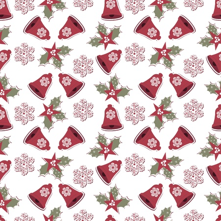 Christmas and New Year seamless pattern with bells and snowflake