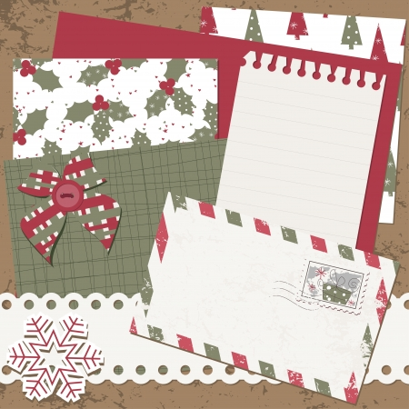 Christmas and New Year scrapbook card with letter and cover Vector