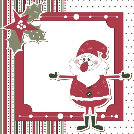 Christmas and New Year scrapbook card with Santa Vector