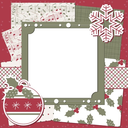 christmas music: Christmas and New Year scrapbook card with ball,seamless pattern and snowflake